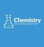Σκιαγραφία γραμμών λογότυπων προτύπων με τη χημική φιάλη σημείων στο κυανό υπόβαθρο Στοκ Φωτογραφία