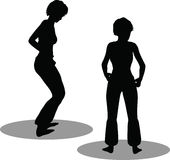 Σκιαγραφία γυναικών χορευτών ελεύθερη απεικόνιση δικαιώματος