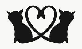 Σκιαγραφία δύο γατών με τις ουρές που διαμορφώνουν μια καρδιά ελεύθερη απεικόνιση δικαιώματος