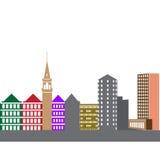 Σκιαγραφία εικονικής παράστασης πόλης στο άσπρο υπόβαθρο Στοκ Φωτογραφίες