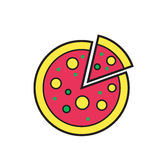 Σκιαγραφία εικονιδίων πιτσών που απομονώνεται στο άσπρο υπόβαθρο Τρόφιμα Στοκ Εικόνες