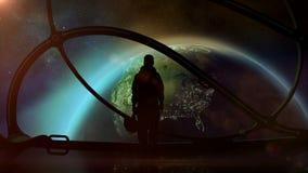 Σκιαγραφία ενός αστροναύτη σε ένα διαστημόπλοιο διανυσματική απεικόνιση