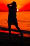 Σκιαγραφία ενός γυναικείου χορού Στοκ φωτογραφία με δικαίωμα ελεύθερης χρήσης