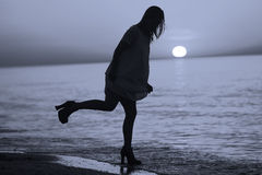 Σκιαγραφία ενός γυναικείου χορού Στοκ Φωτογραφία