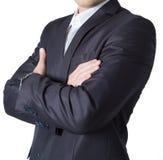 Σκιαγραφία ενός επιχειρηματία στη μέση του στο μαύρο κοστούμι, χέρια FO Στοκ εικόνες με δικαίωμα ελεύθερης χρήσης