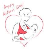 : Σκιαγραφία ενός κοριτσιού με ένα μωρό στα όπλα της Νέα και όμορφη γυναίκα happy motherhood Πλαίσιο υπό μορφή καρδιάς ελεύθερη απεικόνιση δικαιώματος