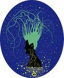 σκιαγραφία ενός κοριτσιού με την τρίχα υπό μορφή τυρκουάζ κλάδων Διανυσματική απεικόνιση