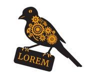 Σκιαγραφία ενός μηχανικού πουλιού Ύφος Steampunk Στοκ εικόνες με δικαίωμα ελεύθερης χρήσης