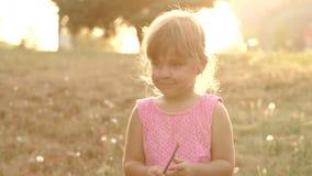 Σκιαγραφία ενός μικρού κοριτσιού στο πάρκο στο ηλιοβασίλεμα απόθεμα βίντεο