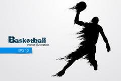 Σκιαγραφία ενός παίχτης μπάσκετ επίσης corel σύρετε το διάνυσμα απεικόνισης Στοκ Εικόνες
