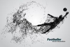 Σκιαγραφία ενός ποδοσφαιριστή από τα μόρια ελεύθερη απεικόνιση δικαιώματος