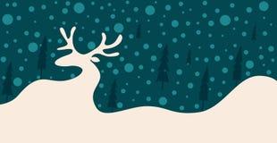 Σκιαγραφία ενός ταράνδου στο χιόνι μεταξύ των δέντρων ελεύθερη απεικόνιση δικαιώματος