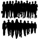 Σκιαγραφία ενός τεράστιου πλήθους των επιχειρηματιών Στοκ εικόνα με δικαίωμα ελεύθερης χρήσης