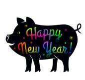 Σκιαγραφία ενός χοίρου με την εγγραφή καλή χρονιά Το σύμβολο του κινεζικού οικονομικού έτους 2019 είναι ο σπόρος Επίπεδο διάνυσμα ελεύθερη απεικόνιση δικαιώματος