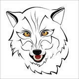 Σκιαγραφία ενός λύκου σε ένα άσπρο υπόβαθρο Στοκ εικόνα με δικαίωμα ελεύθερης χρήσης
