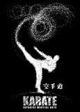 Σκιαγραφία ενός karateka που κάνει το μόνιμο δευτερεύον λάκτισμα διάνυσμα απεικόνιση αποθεμάτων