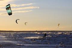 Σκιαγραφία ενός kitesurf Στοκ Εικόνες