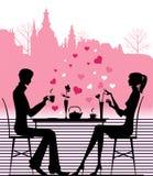 σκιαγραφία ζευγών καφέδ&omeg Στοκ φωτογραφία με δικαίωμα ελεύθερης χρήσης