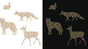 Σκιαγραφία ζώων που επισημαίνεται Στοκ Εικόνες