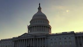 Σκιαγραφία ηλιοβασιλέματος αμερικανικής Capitol οικοδόμησης απόθεμα βίντεο
