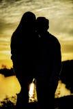 Σκιαγραφία ηλιοβασιλέματος στοκ φωτογραφίες με δικαίωμα ελεύθερης χρήσης