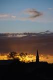 Σκιαγραφία ηλιοβασιλέματος Στοκ Εικόνες