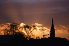 Σκιαγραφία ηλιοβασιλέματος Στοκ Φωτογραφίες