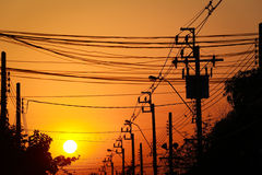 Σκιαγραφία, θέση ηλεκτρικής ενέργειας Στοκ Εικόνες
