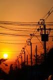 Σκιαγραφία, θέση ηλεκτρικής ενέργειας Στοκ εικόνες με δικαίωμα ελεύθερης χρήσης