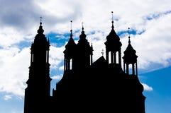 Σκιαγραφία καθεδρικών ναών του Πόζναν Στοκ φωτογραφία με δικαίωμα ελεύθερης χρήσης