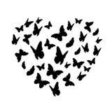 Σκιαγραφία καρδιών πεταλούδων Beautifil που απομονώνεται στο άσπρο υπόβαθρο Στοκ Φωτογραφίες