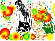 σκιαγραφία κοριτσιών ροή&sig Στοκ Εικόνες