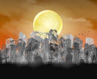 Σκιαγραφία κτηρίου πόλεων με το φεγγάρι και τον κόκκινο ουρανό απεικόνιση αποθεμάτων