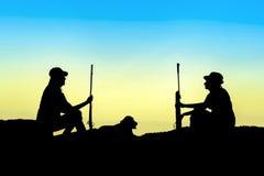 Σκιαγραφία κυνηγών Στοκ εικόνες με δικαίωμα ελεύθερης χρήσης