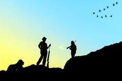 Σκιαγραφία κυνηγών Στοκ φωτογραφίες με δικαίωμα ελεύθερης χρήσης