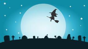 Σκιαγραφία μαγισσών αποκριών στο φεγγάρι, διανυσματική απεικόνιση της μάγισσας ευτυχείς αποκριές αποκριών Στοκ Εικόνες