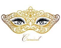 Σκιαγραφία μασκών με τα μάτια Δαντελλωτός ενετική μάσκα διανυσματική απεικόνιση
