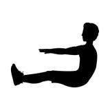 Σκιαγραφία με τα ABS άσκησης ατόμων Στοκ Εικόνες