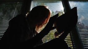 Σκιαγραφία μιας γυναίκας που διαβάζει από το παράθυρο Ο ήλιος λάμπει μέσω των τυφλών, η σαφής ημέρα άνοιξη απόθεμα βίντεο