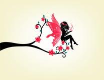 Σκιαγραφία μιας νεράιδας και ενός δέντρου Στοκ Εικόνες