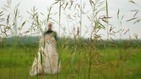 Σκιαγραφία μιας νύφης σε ένα όμορφο άσπρο φόρεμα και του νεόνυμφου που χορεύει στο λιβάδι Ομαδική εργασία ενός αγαπώντας ζεύγους  απόθεμα βίντεο