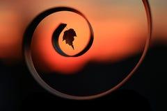 Σκιαγραφία μιας σπείρας ενάντια σε ένα όμορφο ηλιοβασίλεμα Στοκ φωτογραφίες με δικαίωμα ελεύθερης χρήσης