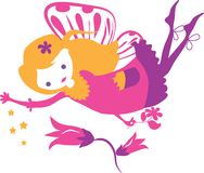 Σκιαγραφία μικρών κοριτσιών νεράιδων διανυσματική απεικόνιση