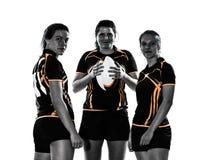 Σκιαγραφία ομάδων παικτών γυναικών ράγκμπι Στοκ Εικόνες