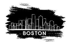 Σκιαγραφία οριζόντων πόλεων της Βοστώνης Μασαχουσέτη ΗΠΑ Στοκ εικόνες με δικαίωμα ελεύθερης χρήσης