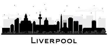 Σκιαγραφία οριζόντων πόλεων του Λίβερπουλ τα μαύρα κτήρια που απομονώνονται με ελεύθερη απεικόνιση δικαιώματος