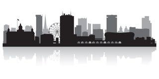 Σκιαγραφία οριζόντων πόλεων του Μπέρμιγχαμ Αγγλία ελεύθερη απεικόνιση δικαιώματος
