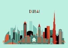 Σκιαγραφία οριζόντων πόλεων του Ντουμπάι Επίπεδο σχέδιο, καθιερώνον τη μόδα Στοκ Εικόνες