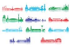 Σκιαγραφία ορόσημων πόλεων Παγκόσμιο Κύπελλο 2018 απεικόνιση αποθεμάτων