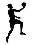 Σκιαγραφία παίχτης μπάσκετ Στοκ Εικόνες